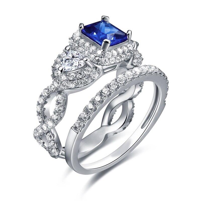 Hutang 6.47ct 2 pièces solide 925 en argent Sterling anneaux de mariage ensembles laboratoire Tanzanite zircone bracelet de fiançailles cadeau bijoux pour les femmes