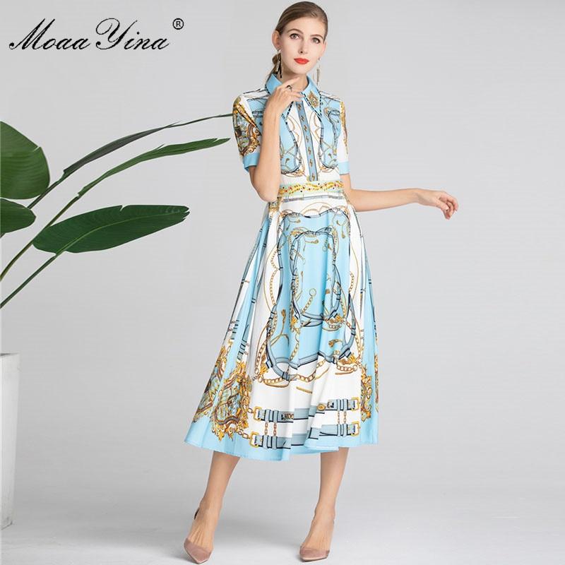 MoaaYina Fashion Designer Runway Dress Summer Women Dress Short sleeve Turn down Collar Beading Stripe Print