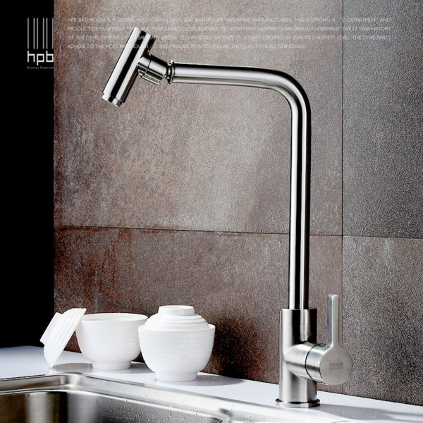 HPB Brass Brushed Rotary Deck Mounted Hot And Cold Water Kitchen Mixer Tap Pb-free Sink Faucet torneira cozinha HP4004
