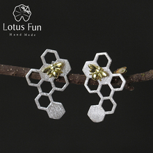 Lotus Fun Real 925 Sterling Silver Earring Natural Creative Handmade Fine Jewelry Honeycomb Home Guard Dangle Earrings for Women