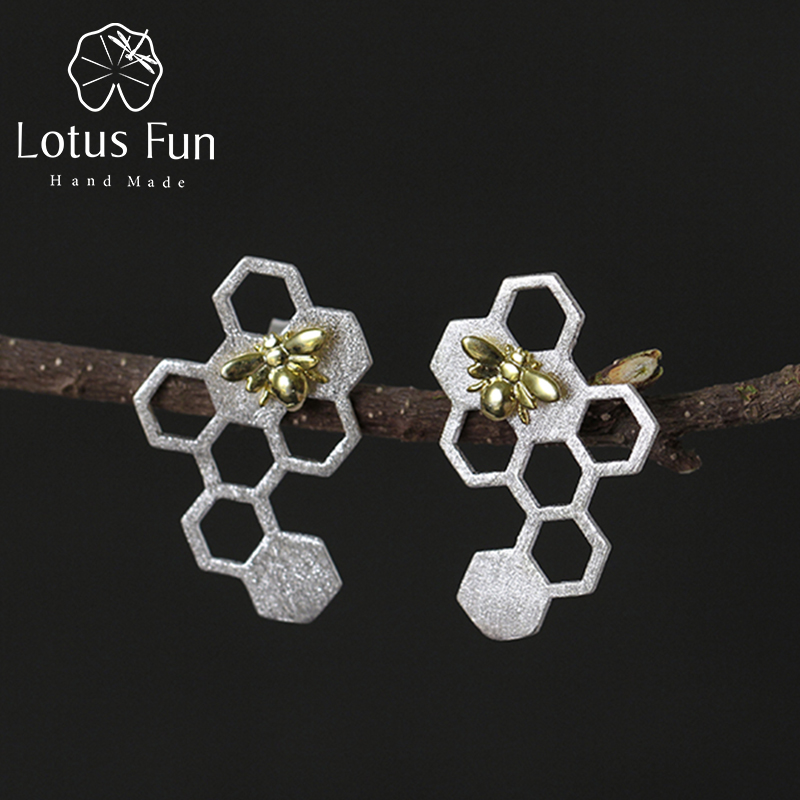 Lotus Fun Real 925 Sterling Silver Earring Natural Creative Handmade - Fine Jewelry