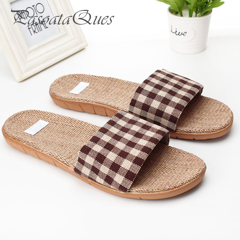 Hemp Men Slippers Gingham Breathable Indoor House Summer Home Spring Women Shoes Pasoataques Brand Asspfhp103 gingham frill trim pants