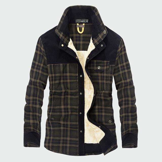 Military Shirt Men Casual Shirts Winter Wool Fleece Thick Warm Male Plaid Corduroy Shirts Camisa masculina Chemise homme ML042