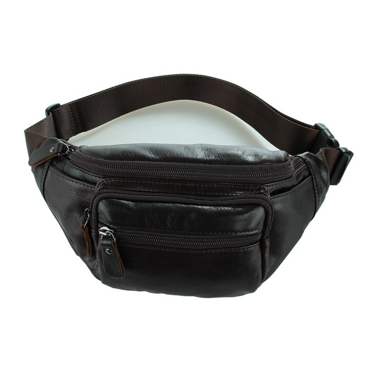 Fashion Men Multifunction travel bags coffee chest pack real genuine leather men waist bag quality men