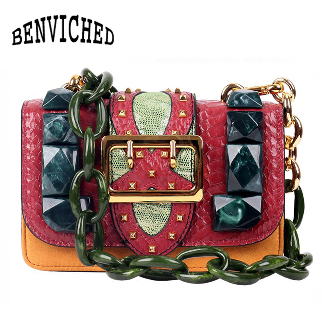 BENVICHED Genuine Leather Crossbody Bag Vintage Serpentine Tortoiseshell Chain Bag Luxury Handbags Women Bags Designer L044