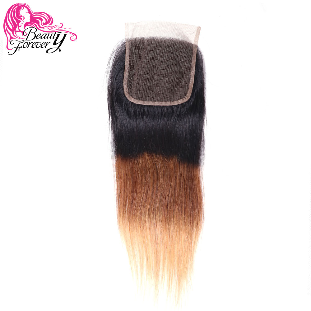 Beauty Forever Straight Brazilian Ombre Lace Closure 4 4 Free Part 100 Remy Human Hair 120
