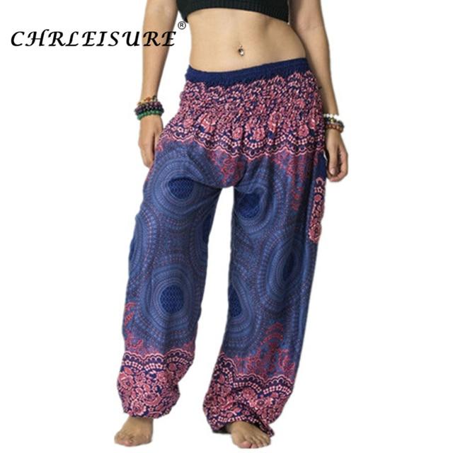 CHRLEISURE Summer Plus Size Beach Harem Pants Women Casual High Waist Floral Print Pants Vintage Loose Trousers Women