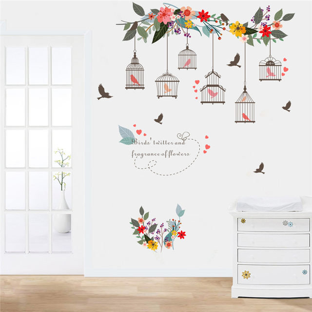 Online Shop Colorful Flower Birds Birdcage Wall Sticker Decals Wall ...
