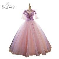 Vintage Saudi Arabia Long Prom Dresses Light Purple Puffy Sleeves Deep V Neck 3D Floral FLower