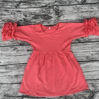 Beautiful Style Baby Girl Party Dress Children 3 4 Sleeve Icing Ruffle Dress Boutique Girs Plain