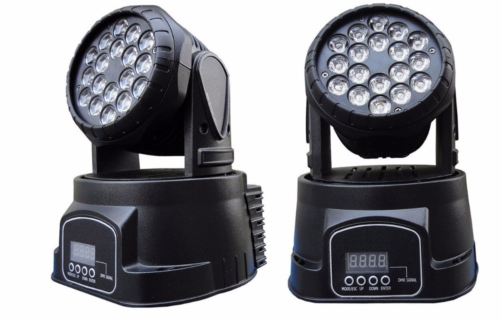 Free Shipping 2XLOT 18x3W RGB LED Mini Moving Head Beam Wash Spot Light Stage Disco DJ Professional Show Lighting Effect Party