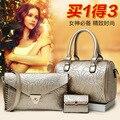 2017 women handbags leather handbag women messenger bags boston handbag Handbag+Messenger Bag+Purse3 Sets