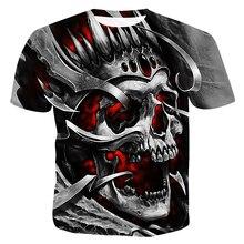 Skull T Shirt Men Black Tshirt Funny Punk Rock Clothes 3D Print T-shirt Hip Hop Mens Clothing 2019 Summer Streetwear Casual Tops цены
