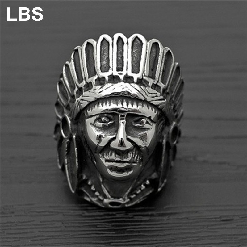 Aimeilai Tibetan Silver Fashion Tribe Men Apache Indian Chief Head Ring Figure Punk Figure Jewelry