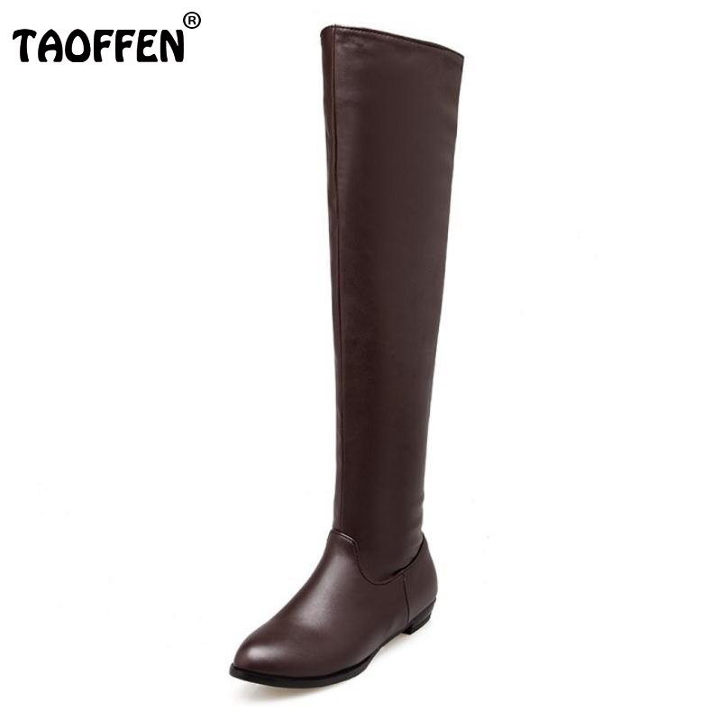 Woman Classic Flat Boot Women Winter Boots Fashion Over Knee Long Botas Flat Sole Stretch Fabric Shoes Footwear Size 34-45 size 30 44 women flat over knee boots ladies riding fashion long snow boot warm winter brand botas footwear shoes p10263