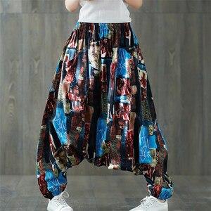 Image 2 - Phụ Nữ Boho Hậu Cung Quần Rời Quá Khổ Pha Cotton DạO Phố Nhảy Hip Hop Quần Dân Tộc In Bộ Thun Quần