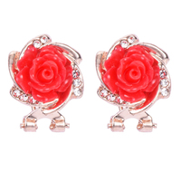 BONLAVIE Red Flower Earring Rhinestone Women Birthday Gifts Ear Stud Earrings Wholesale