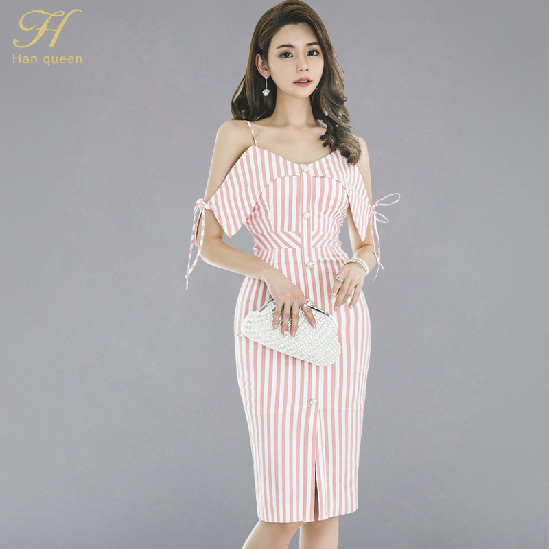H Han Queen Summer Velvet Bow Tie Split Sheath Bodycon Pencil Dress Women Backless Print Striped Fitted Sexy Casual Slim Vestido by H Han Queen