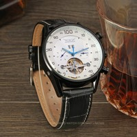 JARAGAR Leather Strap Blue Pointers Male Wristwatch Automatic Mechanical Auto Date Day Function Watches Men Tourbillon