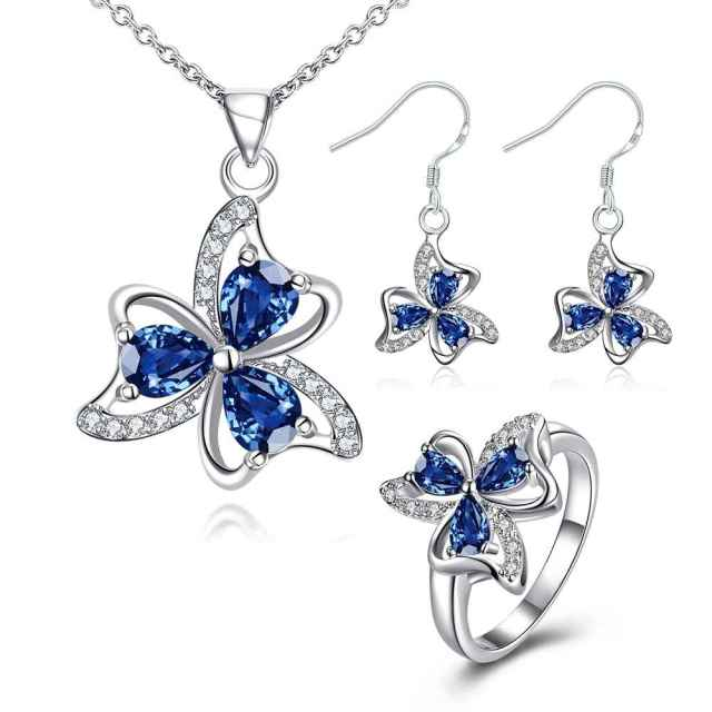 Free Shipping  New Sale  silver jewelry sets Blossom necklace + earring + ring Sets for women bijoux FSPS045