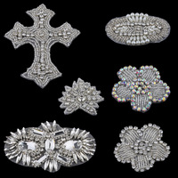 Handmade Silver Bling Sew On Beaded Crystal Rhinestone Applique For Wedding Dresses Baby Girl Hair Accessories