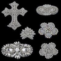Handgemaakte Zilveren Bling Naai Kralen Crystal Rhinestone Applique voor Trouwjurken Meisje Accessoires Supply