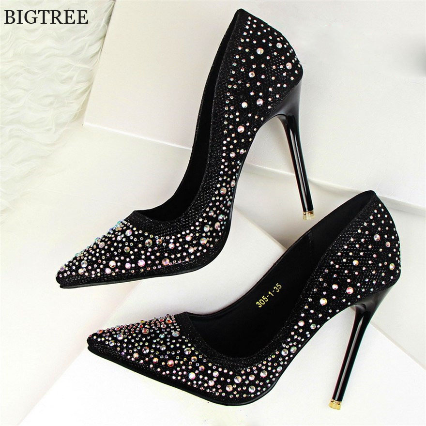 BLGTREE 2018 Fashion New Women Pumps Classic Sequined Shallow Women High Heels Sexy Pointed 10cm Wedding shoes party Women Shoes floral embroidered heels women pumps solid pointed high heels toe shallow fashion high heels 10cm shoes women wedding shoes