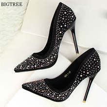BLGTREE 2018 Fashion New Women Pumps Classic Sequined Shallow Women High Heels Sexy Pointed 10cm Wedding shoes party Women Shoes