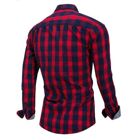 Brand Hot Sell 2018 Summer New Casual Dress Shirt Men Long Sleeve Fashion Plaid Denim Shirt 100% Pure Cotton Brand Clothes FM158 Lahore