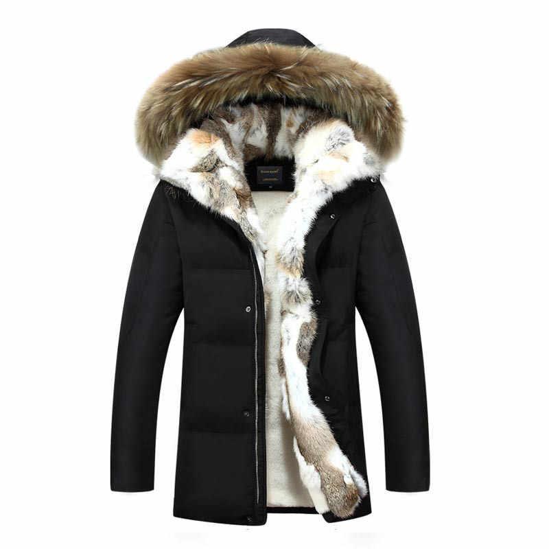 Белая куртка на утином пуху для мужчин, утолщенный воротник с кроличьим мехом, мужские пальто, зимняя парка с капюшоном из меха енота, мужская куртка