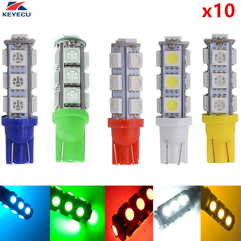 KEYECU 10 Pieces 12V T10 194 W5W 5050 13SMD Interior Car LED Bulb License Plate Lights Side Reverse Door Courtesy Dome Map Ligh