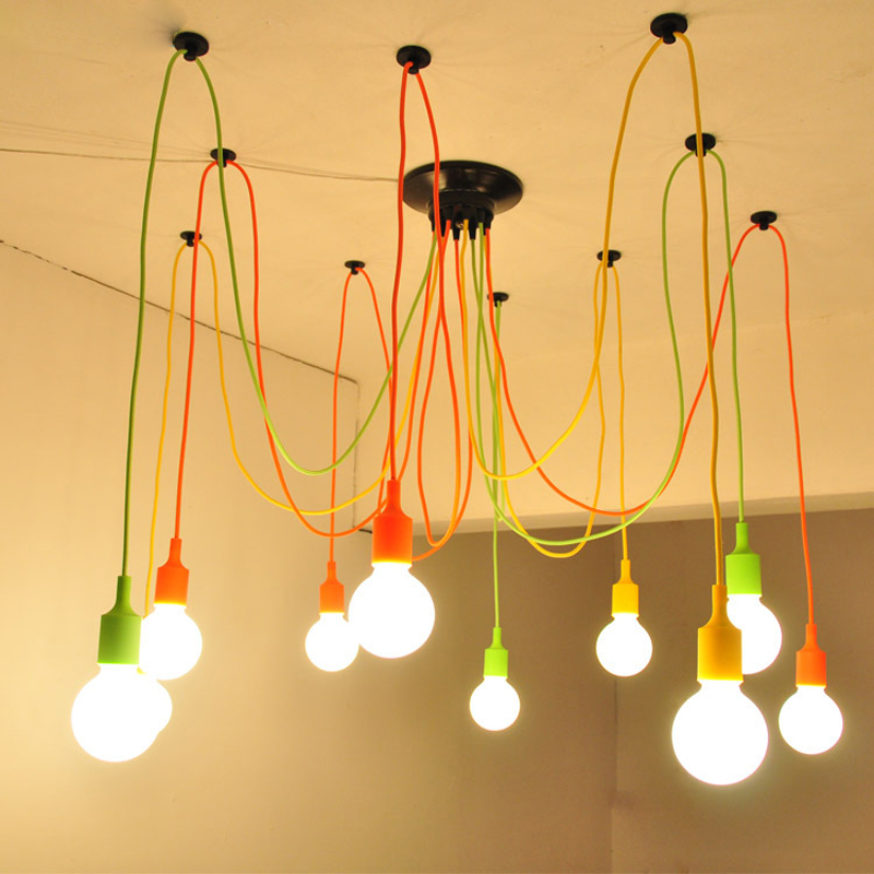 Modern Colorful Glossy Chandelier 1-10 Arm Retro Adjustable Light Bulb Edison E27 Art Spider Ceiling Fixture