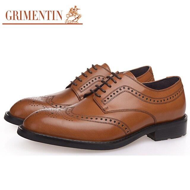 47c60e644 GRIMENTIN العلامة التجارية قمة الجناح أوكسفورد حذاء رجالي جلد طبيعي منحوتة  إيطاليا مصمم أحذية رجالي رسمية