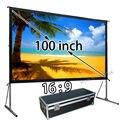 Buen Precio pantalla plegable rápida 100 pulgadas formato 16:9 pantalla de proyección frontal con caja de transporte