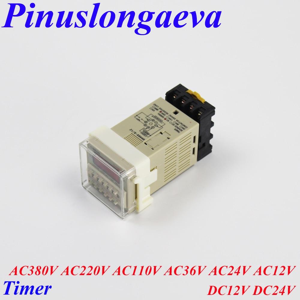 Pinuslongaeva Factory outlet High quality LED Digital display Timer Cycle time relay AC380V 220V 110V 36V 24V 12V DC12V 24V