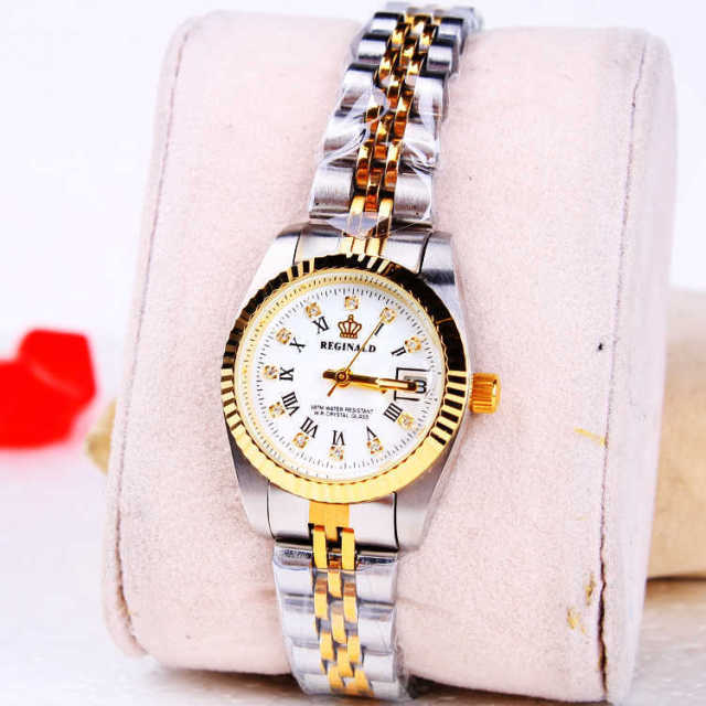HK Fashino Brand REGINALD Water Resistant Lady Gold High-grade Luxury Rhinestone Quartz Stainless Steel calendar Wristwatches