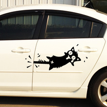 2 Pieces Cartoon cat stickers funny Car Styling Clip the tail car whole body door cover scratches Side Door sticker