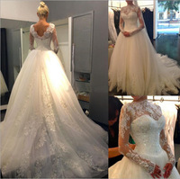 vestidos de novia 2018 Vintage Lace Long Dresses for Wedding Open Back Appliques Custom Made Train Bridal Gowns Robe De Mariage