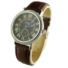 2015 Brand New Roman Numerals Men's Quartz Wrist Watch PU Band Relogio Masculino Casual Watches Luxury Dress Watches Clock Hours