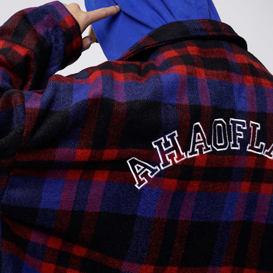 5c0cf43e0 ... Plaid Flannel Shirt Men Vintage Check Mens Shirts Streetwear Korean  Fashion Style High Street Hip Hop