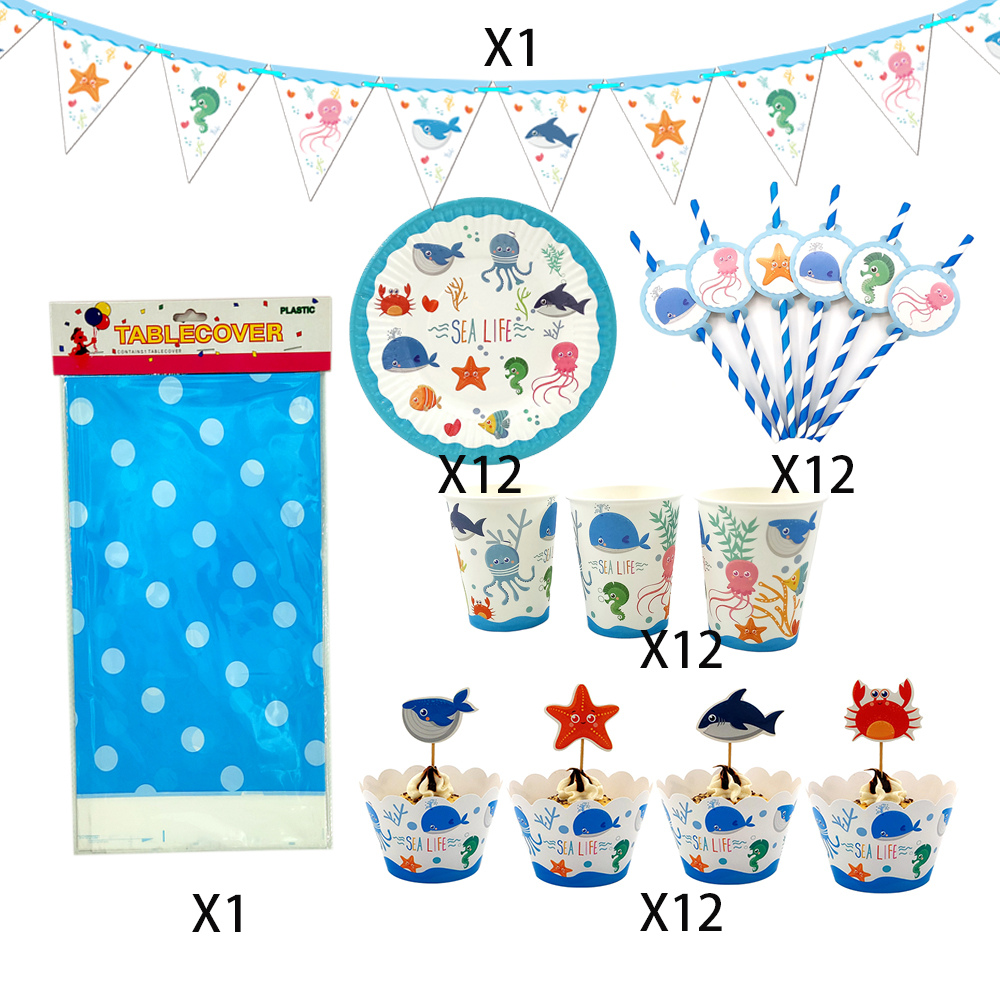 Sea Animal Popcorn Box Kids Party Vaisselle Anniversaire Décorations Fournitures