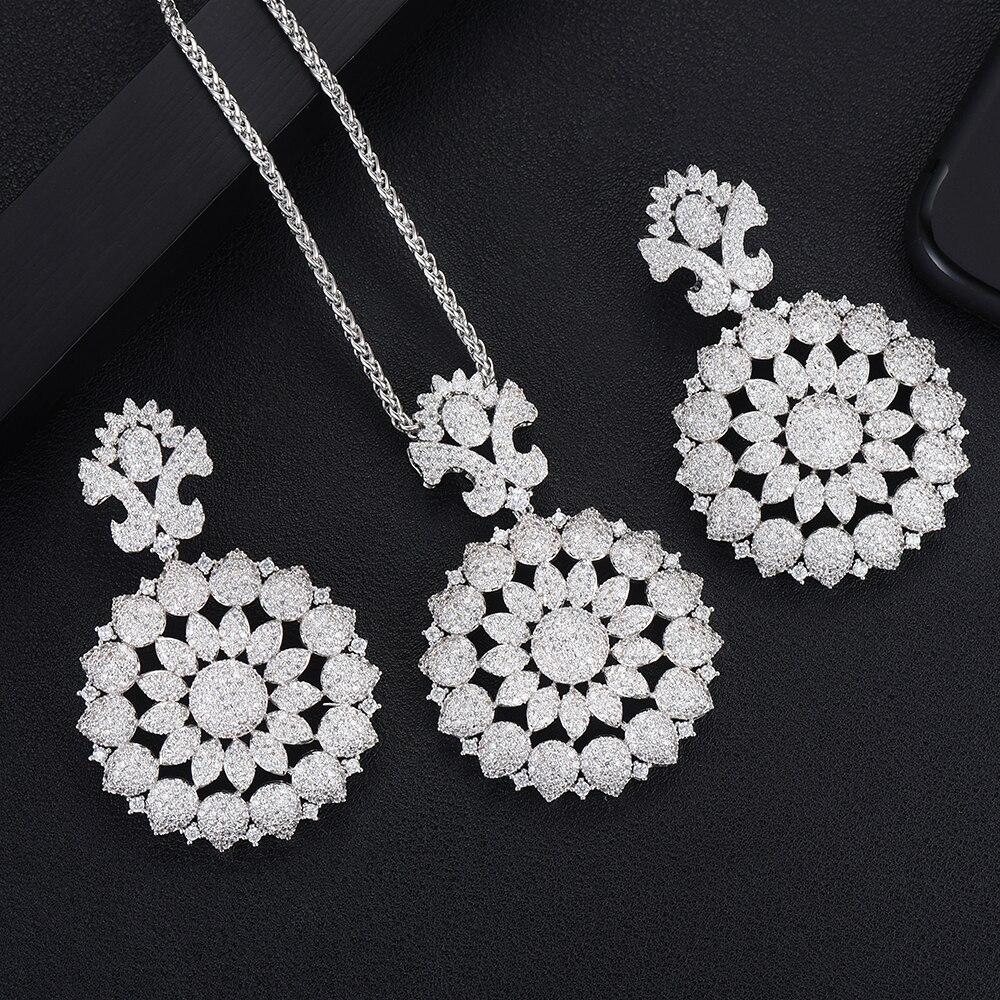 GODKI Luxury Flower Leaf Silver Necklace Earring Set For Women Wedding Naija Bridal Cubic Zircon Dubai Dress Jewelry Sets 2019
