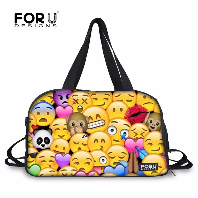 a71b3acdd4 FORUDESIGNS Sports Bags for Fitness Women s Bags Funny Emoji 3D Printed  Athletic Bag Outdoor Large Capacity Shoulder Travel Bags