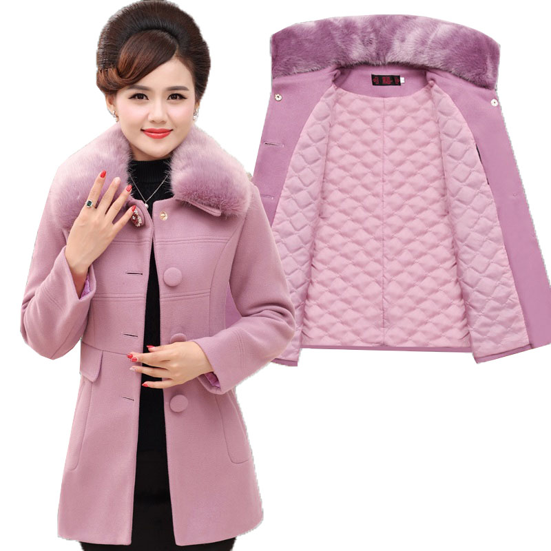 Winter Woolen Jacket Women 2018 Fashion Fur Collar High Quality Wool Coat Thick Cotton Middle aged