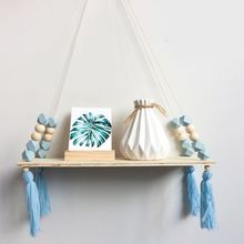 New Nordic Style Storage Rack INS Wall Shelves Wall Decor Wooden Beads Tassel Storage Swing Shelf Kid's Room Organizer for Toys