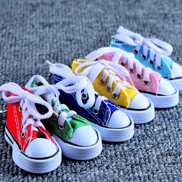 YITING 1PC Colorful Women s Shoes Key Chains for Lovers Small Canvas Shoes  Car Keychain Silver Plated Shoe Keyrings Key Holder f843e8ef19