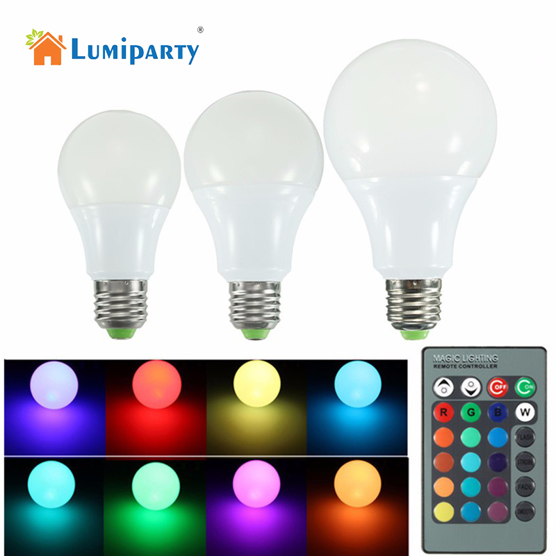 LumiParty New Goodland 10W E27 RGB LED Bulb High Power RGB LED Lamp Light Lampada LED 16 Color Remote Control For Christmas agm rgb led bulb lamp night light 3w 10w e27 luminaria dimmer 16 colors changeable 24 keys remote for home holiday decoration