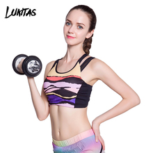 LUKITAS 2018 Fitness Women Sexy Print Push Up Quick Dry Breathable Shoulder Strap Polyester Elastic Yoga Running Gym Sports Bra