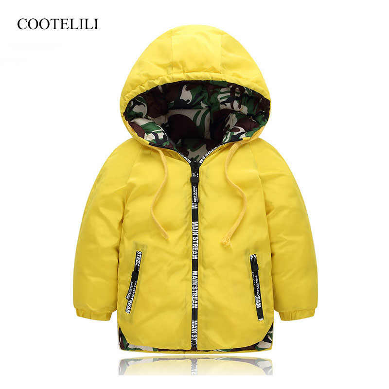 COOTELILI Reversible Kids Winter Children Jacket Outerwear Baby Boy and Girl Clothes Warm Camouflage Hooded Coat Teenage Parka