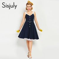 Sisjuly women vintage dress nautical style navy summer patchwork dark blue dresses cotton v-neck strap button retro dress new